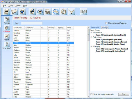 Team Roping Software Features
